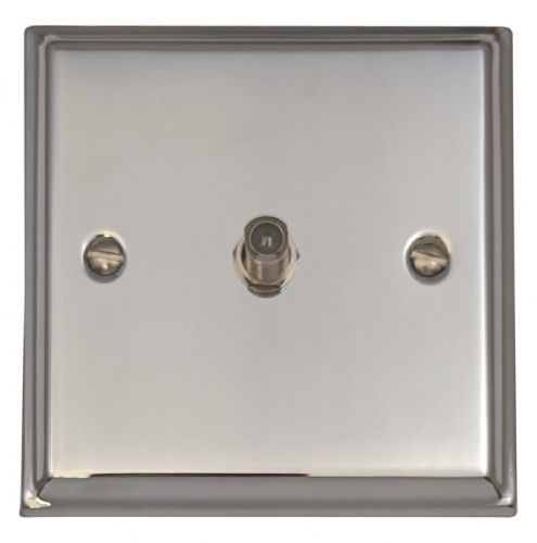 G&H DC37 Deco Plate Polished Chrome 1 Gang Single Satellite Point Socket